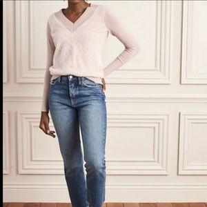Stella & Dot pink v neck fuzzy chevron sweater sm